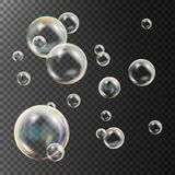 Realistic Soap Bubbles Vector. Rainbow Reflection. Aqua Wash.  Illustration Royalty Free Stock Image