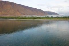 Transparent Sob river in August morning. Polar Ural, Russia. Transparent Sob river in August morning. Polar Ural. Russia royalty free stock photo