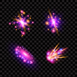 Transparent sparkling light effects and flares. Glittering galaxy Stock Images