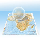 Transparent sphere. About map of Africa royalty free illustration