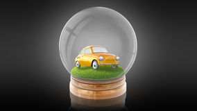 Transparent sphere ball with car on the grass inside. 3D rendering. Transparent sphere glass ball with cartoon retro car on the grass inside. 3D rendering Stock Photography