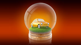 Transparent sphere ball with car on the grass inside. 3D rendering. Transparent sphere glass ball with cartoon retro car on the grass inside. 3D rendering Royalty Free Stock Photo