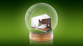 Transparent sphere ball with concept interior inside. 3D rendering. Transparent sphere glass ball with concept modern interior inside. 3D rendering Stock Photos