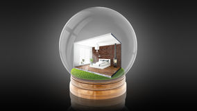 Transparent sphere ball with concept interior inside. 3D rendering. Transparent sphere glass ball with concept modern interior inside. 3D rendering Royalty Free Stock Photos