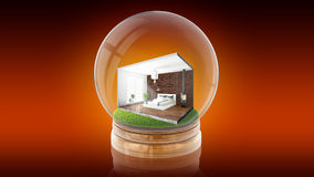 Transparent sphere ball with concept interior inside. 3D rendering. Transparent sphere glass ball with concept modern interior inside. 3D rendering Royalty Free Stock Image