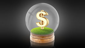 Transparent sphere ball with dollar sign inside. 3D rendering. Stock Image