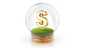 Transparent sphere ball with dollar sign inside. 3D rendering. Royalty Free Stock Images