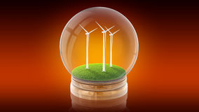 Transparent sphere ball with ecology-friendly windmills inside. 3D rendering. Stock Photo