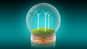 Transparent sphere ball with ecology-friendly windmills inside. 3D rendering. Royalty Free Stock Photo