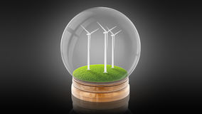 Transparent sphere ball with ecology-friendly windmills inside. 3D rendering. Stock Images