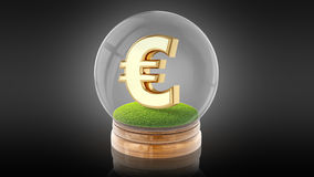 Transparent sphere ball with euro sign inside. 3D rendering. Stock Photos