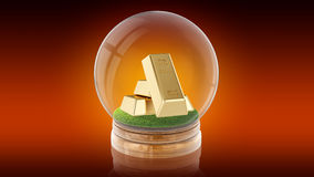 Transparent sphere ball with golden bars inside. 3D rendering. Stock Photography