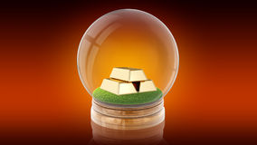 Transparent sphere ball with golden bars inside. 3D rendering. Royalty Free Stock Images