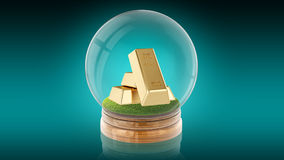 Transparent sphere ball with golden bars inside. 3D rendering. Royalty Free Stock Photo