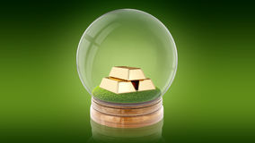 Transparent sphere ball with golden bars inside. 3D rendering. Stock Photos