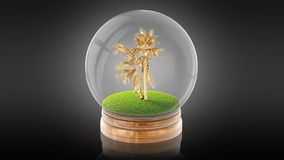 Transparent sphere ball with golden palm inside. 3D rendering. Stock Photo
