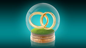 Transparent sphere ball with marrage rings inside. 3D rendering. 3D rendering. Transparent sphere glass ball with golden marriage rings on the grass inside. 3D vector illustration