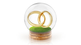 Transparent sphere ball with marrage rings inside. 3D rendering. Stock Photo