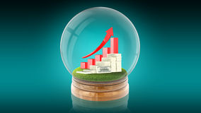 Transparent sphere ball with rising graph and dollars inside. 3D rendering. Stock Photo