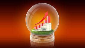 Transparent sphere ball with rising graph and dollars inside. 3D rendering. Royalty Free Stock Images