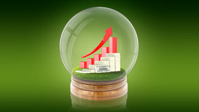 Transparent sphere ball with rising graph and dollars inside. 3D rendering. Stock Photography