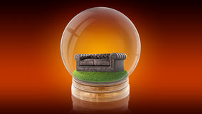 Transparent sphere ball with a sofa inside. 3D rendering. Transparent sphere glass ball with brown leather couch on grass inside. 3D rendering Stock Photography