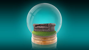 Transparent sphere ball with a sofa inside. 3D rendering. Stock Photography