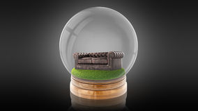 Transparent sphere ball with a sofa inside. 3D rendering. Transparent sphere glass ball with brown leather couch on grass inside. 3D rendering Stock Image
