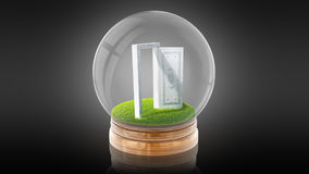 Transparent sphere ball with white open door inside. 3D rendering. Stock Image