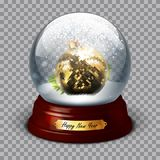 Transparent sphere with fir balls and snow. Highly realistic ill Stock Image