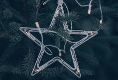 Transparent star decoration on the fir tree royalty free stock photo