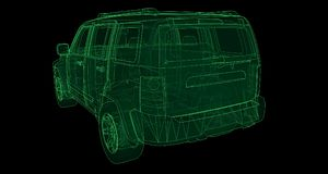 Transparent SUV with simple straight lines of the body. 3d rendering. Transparent SUV with simple straight lines of the body. 3d rendering Stock Photography
