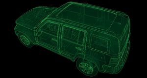 Transparent SUV with simple straight lines of the body. 3d rendering. Transparent SUV with simple straight lines of the body. 3d rendering Royalty Free Stock Images