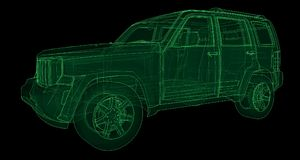 Transparent SUV with simple straight lines of the body. 3d rendering. Transparent SUV with simple straight lines of the body. 3d rendering Royalty Free Stock Photography