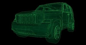 Transparent SUV with simple straight lines of the body. 3d rendering. Transparent SUV with simple straight lines of the body. 3d rendering Royalty Free Stock Image