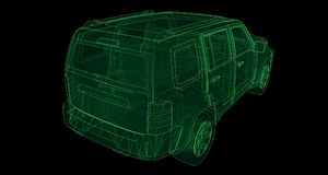 Transparent SUV with simple straight lines of the body. 3d rendering. Transparent SUV with simple straight lines of the body. 3d rendering Stock Image