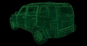 Transparent SUV with simple straight lines of the body. 3d rendering. Transparent SUV with simple straight lines of the body. 3d rendering Royalty Free Stock Photo