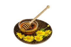 Transparent sweet flower honey in glass form. Studio Photo stock images