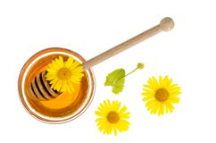 Transparent sweet flower honey in glass form. Studio Photo stock photo