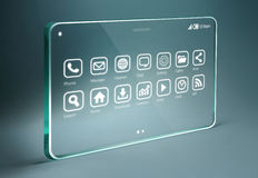 Transparent tablet with apps icons on bue background Royalty Free Stock Photo