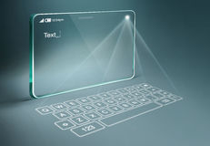 Transparent tablet with digital virtual keyboard Royalty Free Stock Photos