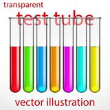 Transparent test tubes with colored liquids. Royalty Free Stock Images