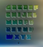 Transparent three-dimensional alphabet set. On blur background vector illustration
