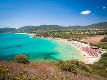 Transparent and turquoise sea in Cala Sinzias, Villasimius. Royalty Free Stock Image