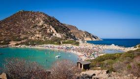 Transparent and turquoise sea in Punta Molentis, Villasimius. Sardinia, Italy royalty free stock images