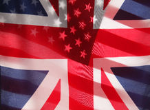 Transparent U.S. and UK flags Royalty Free Stock Image