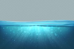 Transparent underwater background. Realistic blue sea water surface, 3D ocean pool lake deep wave concept. Marine. Vector illustration vector illustration