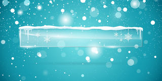 Transparent vector glass  banner. With snow and icicles  on blue sparkling background. Vector illustration. Eps 10 file Royalty Free Stock Images