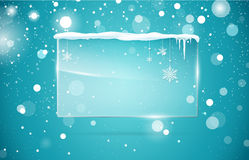 Transparent vector glass  banner. With snow and icicles  on blue sparkling background. Vector illustration. Eps 10 file Stock Photo