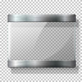 Transparent vector glass plate with metal holders, for your signs, on wplaid background. Royalty Free Stock Photography